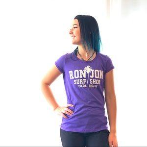 Tops - Ron Jon- Purple and white, short sleeve Tee